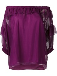 Sonia Rykiel Off Shoulder Ruffle Top Pink Purple