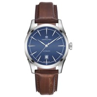Hamilton H42415541 Men's American Classic Automatic Date Leather Strap Watch Dark Brown Blue