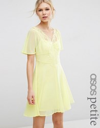 Asos Petite Skater Dress With Lace Insert Yellow Pink