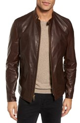 Schott Nyc Cafe Leather Moto Jacket Brown