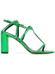 Jean Michel Cazabat Snakeskin Effect Sandals Green