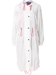 Tommy Hilfiger Printed Lining Hooded Raincoat White