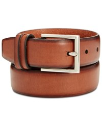 Cole Haan Men's Leather Burnished Edge Pinch Belt British Tan