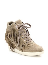 Ash Beatnik Fringed Suede High Top Wedge Sneakers Beige