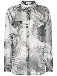 Equipment Palm Leaf Print Shirt Black