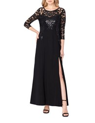 Tahari By Arthur S. Levine Sequined A Line Gown Black