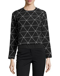 Romeo And Juliet Couture Long Sleeve Geometric Print Woven Top Black White