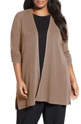 Eileen Fisher Plus Size Women's Sleek Ribbed Tencel Lyocell Cardigan Buttercream