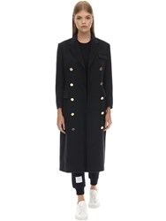 Thom Browne Long Double Breast Cashmere Coat Navy