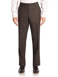 Saks Fifth Avenue Tonal Micro Wool Dress Pants Charcoal