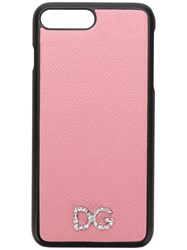 Dolce And Gabbana Crystal Logo Plaque Iphone 8 Plus Case Pink And Purple