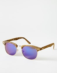 Asos Retro Sunglasses In Rubberised Light Wood Effect Brown