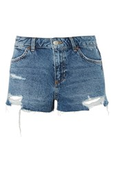 Topshop Moto Cory Low Rise Denim Shorts Mid Stone