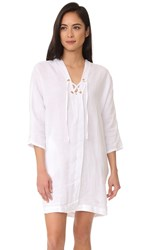 Three Dots Lace Up Cocoon Dress White