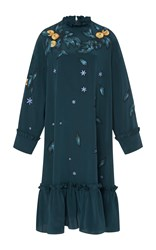 Alena Akhmadullina Embroidered Silk Dress Green