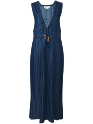 Veronique Branquinho V Neck Pleated Dress Blue