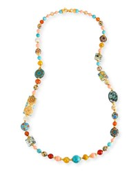Jose And Maria Barrera Long Beaded Necklace W Mixed Stations 36 Multi