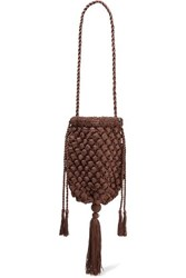Nannacay Electra Tasseled Crocheted Shoulder Bag Brown