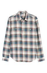 J.Crew Wallace And Barnes Slim Fit Plaid Flannel Shirt Opal Blue
