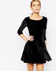 Boohoo Long Sleeve Velvet Skater Dress Black