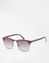 Asos Clubmaster Sunglasses In Wood Effect Brown