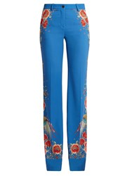 Roberto Cavalli Enchanted Garden Print Trousers Blue Multi