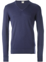 Massimo Alba V Neck Sweater Blue