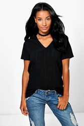 Boohoo V Neck Ribbed T Shirt Black