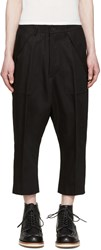 Rick Owens Black Twill Cargo Trousers