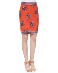 Elle Sasson Francesca Floral Embroidered Silk Skirt Orange