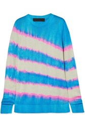 The Elder Statesman Raya Tie Dyed Silk Sweater Blue