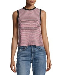 Rag And Bone Striped Racerback Tank Top Navy Blue Pattern