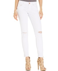 Indigo Blue Indigo Rein Juniors' Destroyed Skinny Jeans White
