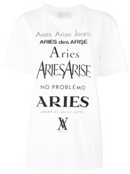 Aries Logo Print T Shirt Women Cotton 2 White