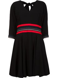 Christian Dada Georgette Flared Dress Black