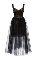 Marchesa Embroidered Tea Length Dress Black