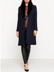 Jigsaw Modern Wool Faux Fur Collar Coat Navy