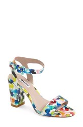 Women's Dune London 'Melrose' Patent Block Heel Sandal Watercolour Multi Patent