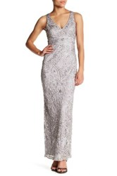 Sue Wong Beaded Long Dress Gray
