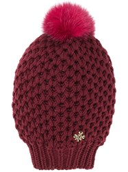Mr And Mrs Italy Fur Pompom Knitted Beanie Red