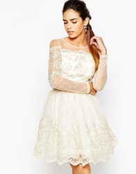 Chi Chi London Long Sleeve Premium Lace Mini Prom Skater Dress Creamgold