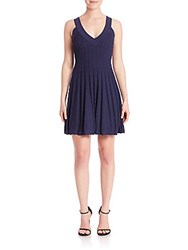 Milly Textured Flare Dress Navy