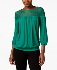 Eci Mesh Illusion Yoke Peasant Blouse Greenlake