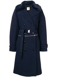 Closed Double Breasted Fitted Coat Blue