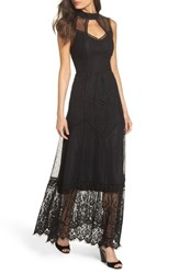 Harlyn Mixed Lace Gown Black