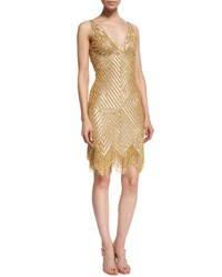 Naeem Khan Sleeveless V Neck Beaded Fringe Dress Gold