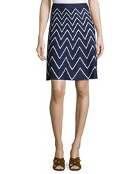 Pink Tartan Stretch Knit Chevron Skirt Blue White