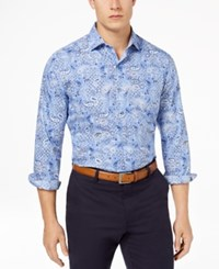 Tasso Elba Men's Supima Cotton Printed Shirt Created For Macy's Blue Combo