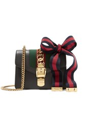 Gucci Sylvie Mini Chain Embellished Leather Shoulder Bag Black