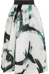 Dolce And Gabbana Printed Silk Organza Midi Skirt White